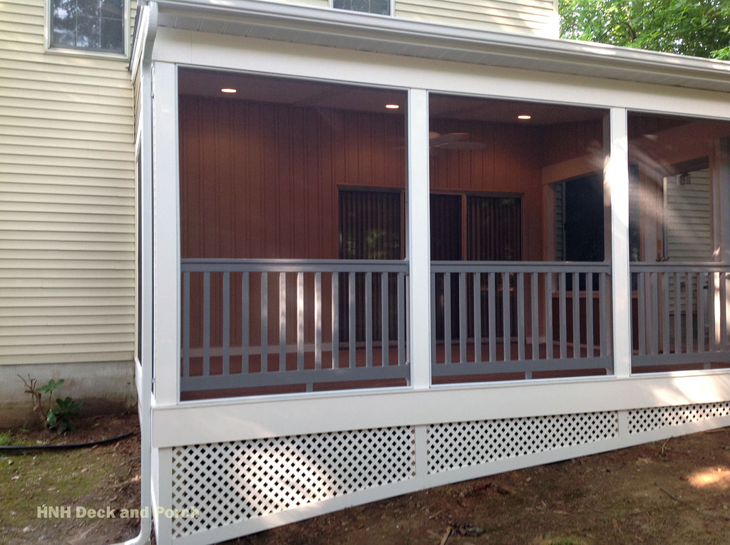 Porches screened room gallery hnh deck and porch llc for Screened in front porch