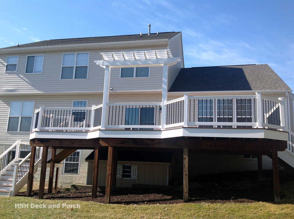 vinyl deck with pergola deck gallery hnh deck and porch llc 443 324 5217